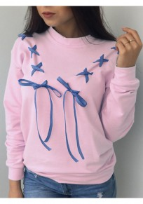 Pink Round Neck Bow Lace-up Long Sleeve Casual Pullover Sweatshirt