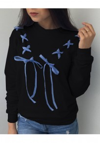 Black Round Neck Bow Lace-up Long Sleeve Casual Pullover Sweatshirt