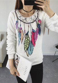 White Cartoon Print Round Neck Casual Sweatshirt