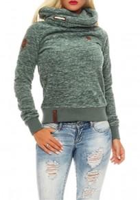 Grün Dicke Cowl Neck Langarm Große Größen Kapuzenpullover Sweatshirt Hoodie Damen Naketano Sale