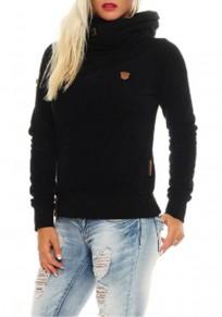Sweatshirt à capuche col bénitier roulé manches longues décontracté femme naketano pull noir