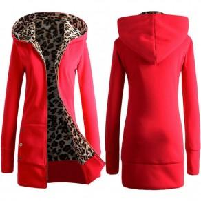 Red Leopard Pockets Zipper Round Neck Long Sleeve Slim Sweatshirts