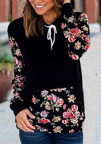 Black Flowers Drawstring Hooded Casual Pullover Sweatshirt