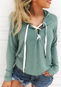 Hellgrün Cut Out Schnürung Langarm Kapuzenpullover Hoodie Beiläufige Damen Sweatshirt