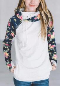 Weißes Blumenprint Tunnelzug Taschen Langarm Beiläufige Hoodie Sweatshirt Damen Kapuzen Pullover