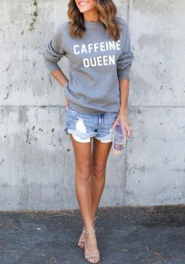 Grey Letter Round Neck Long Sleeve Casual Sweatshirt