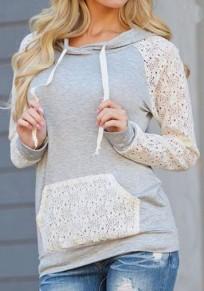 Sweat-shirt à capuche avec dentelle poches col rond manches longues décontracté femme gris