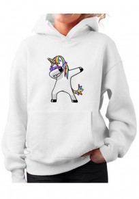 White Unicorn Print Pockets Casual Pullover Hooded Sweatshirt