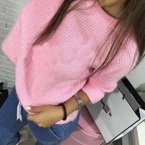 Pink Long Sleeve Round Neck Casual Sweatshirt