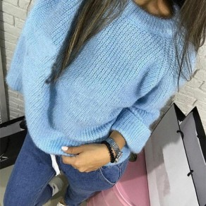 Blue Long Sleeve Round Neck Casual Sweatshirt