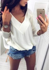 Sweatshirt v-col une épaule manches longues pull à la mode blanc