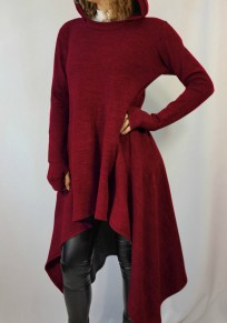 Wine Red Irregular Hooded Long Sleeve Casual Pullover Sweatshirt