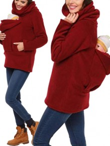 Red Pockets Zipper High Neck Long Sleeve Casual Pullover Sweatshirt