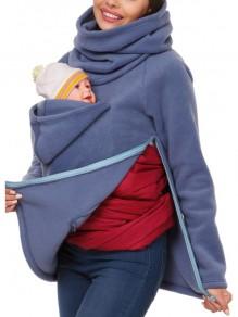 Blue Pockets Zipper High Neck Long Sleeve Casual Pullover Sweatshirt