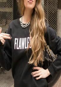 Black Letter Print Long Sleeve Sweatshirt