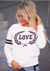 White Love Print Round Neck Long Sleeve Casual Pullover Sweatshirt
