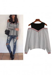 Grey Plain False 2-in-1 Cut Out Round Neck Fashion Pullover Sweatshirt