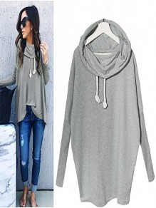 Grey Irregular Drawstring Hooded Long Sleeve Casual Pullover Sweatshirt