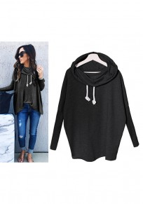Black Irregular Drawstring Hooded Long Sleeve Casual Pullover Sweatshirt