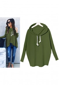 Green Irregular Drawstring Hooded Long Sleeve Casual Pullover Sweatshirt