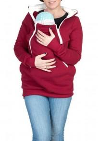Sweat-shirt à capuche kangourou porte-bébé fermeture éclair manches longues décontracté femme rouge
