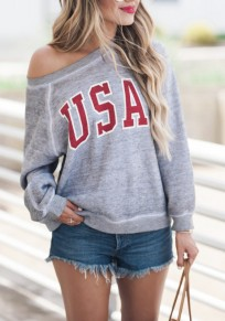 Grey Monogram Print One-shoulder Round Neck Long Sleeve Casual Oversized Pullover Sweatshirt