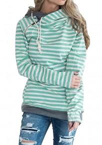 Green Striped Drawstring Pockets Zipper Hooded Casual Pullover Sweatshirt