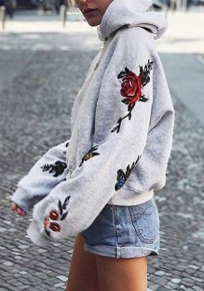 La camiseta flores bordadas con capucha manga larga jersey casuales gris