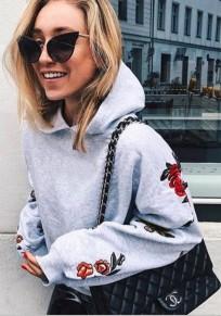 Grey Flowers Embroidery Hooded Long Sleeve Casual Pullover Sweatshirt