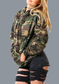 Sweatshirt à capuche camouflage avec poches manches longues décontracté camo vert armée femme