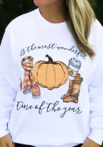 White Print Round Neck Long Sleeve Casual Halloween Pullover Sweatshirt