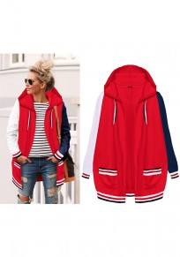 Red Striped Pockets Hooded Long Sleeve Cardigan Hooded Sweatshirt