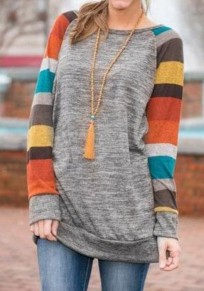Yellow Patchwork Knitted Long Sleeve Sweatshirt