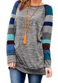 Blue Patchwork Knitted Striped Colorful Long Sleeve Sweatshirt