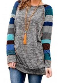 Sweat-shirt tricoté rayé coloré manches longues bleu