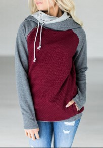 Wine Red-Grey Patchwork Drawstring Zipper Pockets Casual Hooded Sweatshirt