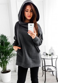 Grey Patchwork Hooded Long Sleeve Pockets Zipper Fashion Pullover Sweatshirt