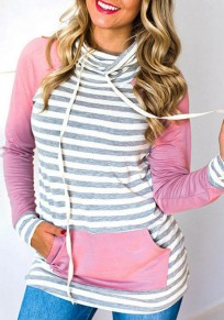 Pink Patchwork Drawstring Pockets Long Sleeve Pullover Sweatshirt