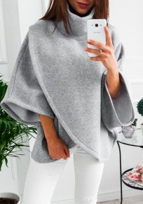 Grey Irregular High Neck Long Sleeve Casual Pullover Sweatshirt