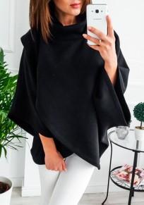 Sweat-shirt croisé irrégulière col haut manches longues femme décontracté noir
