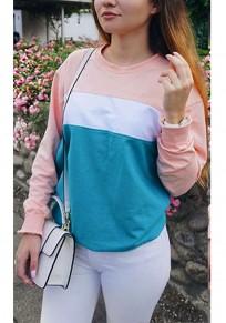 Sweat-shirt col rond arrêtez-vous de mode multicolore