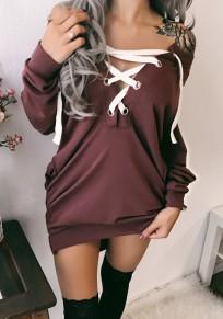 Sweatshirt à lacets épaule dénudée v-cou manches longues décontracté femme bordeaux