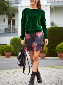 Green Plain Ruffle Round Neck Fashion Pullover Sweatshirt