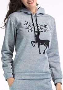 Sweatshirt imprimé à noël deer avec capuche manches longues femme décontracté gris