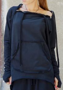 Black Irregular Zipper Pockets Long Sleeve Pullover Sweatshirt