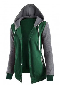 Green Patchwork Pockets Zipper Drawstring Hooded Long Sleeve Sweatshirt