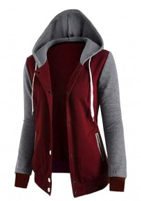 Red Patchwork Pockets Zipper Drawstring Hooded Long Sleeve Sweatshirt