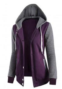 Purple Patchwork Pockets Zipper Drawstring Hooded Long Sleeve Sweatshirt