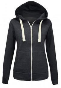 Black Pockets Drawstring Zipper Casual Cardigan Hooded Sweatshirt