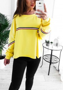 Yellow Striped Print Round Neck Casual Pullover Sweatshirt